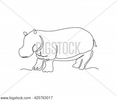 Hippo Continuous Line Art Drawing Style. Minimalist Black Hippopotamus Outline. Editable Active Stro