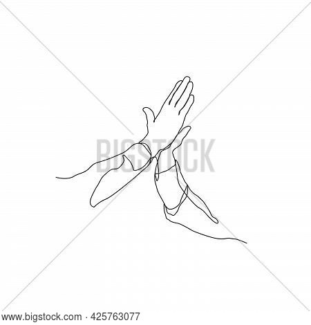 Continuous Line Drawing Of High Five Hands. Hands Toss Vector Illustration With Active Stroke.
