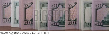 Fifty Dollar Bills And One Hundred Dollar Bills Styled By Retro Tinting. Banner Us Currency Paper Ba