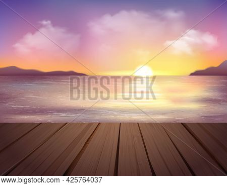 Landscape With Sea Mountains Pier And Sunset In Colorful Sky With Clouds Cartoon Vector Illustration