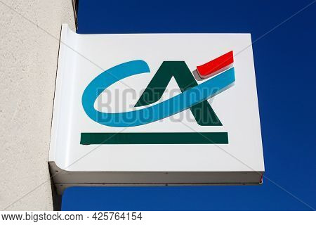 Ecully , France - June 13, 2021: Credit Agricole Logo On A Wall. Credit Agricole Is A French Network