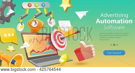 3d Vector Conceptual Illustration Of Advertising Software Automation, Automated Marketing Aproach