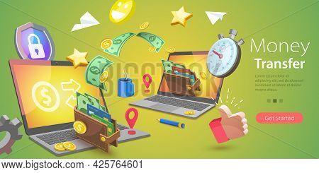 3d Vector Conceptual Illustration Of Online Money Transfer, Financial Transaction And Digital Bankin