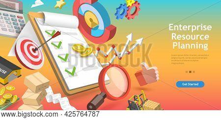 3d Vector Conceptual Illustration Of Enterprise Resource Planning, Erp Software System