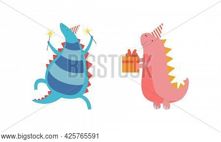 Cute Dinosaurs In Party Hats Celebrating Holidays Set, Adorable Funny Dino Characters Holding Gift B