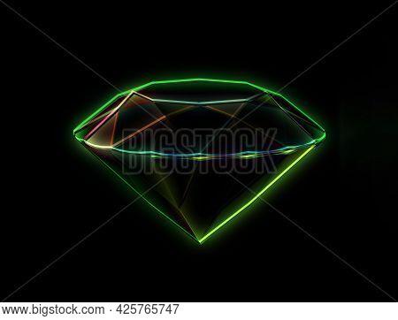 Abstract Amazing Diamond Contours, Precious Diamond, Brilliant Mesh, 3d Render