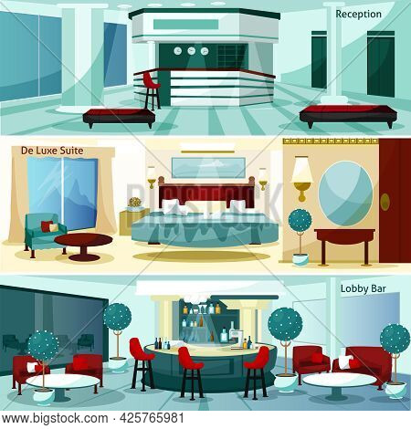 Three Modern Hotel Interior De Luxe Suite And Lobby Bar Horizontal Banners Cartoon Vector Illustrati