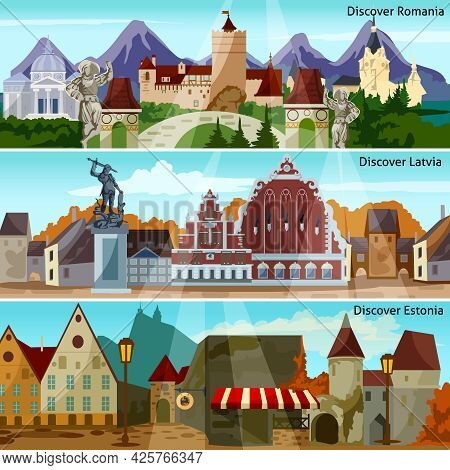 European Cityscapes Flat Concept. Europe And Sights Horizontal Banners. European Cities Vector Illus
