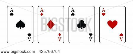 Set Of Vector Playing Card. Colection Of Four Aces. Poker Playing Cards Isolated On White Background