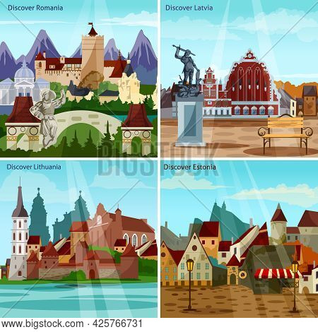 European Cityscapes Concept. Europe And Sights Vector Illustration. European Cities Flat Icons Set.