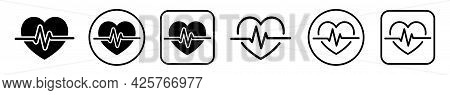 Heart Heartbeat Icon. Medicine Concept. Hearts Pulse Vector Sign. Heart Shape In Outline Style. Symb