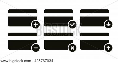 Credit Card Icons Set. Pay Card Simple Mockup. Payment Sign Isolated On White Background. Vector Ill