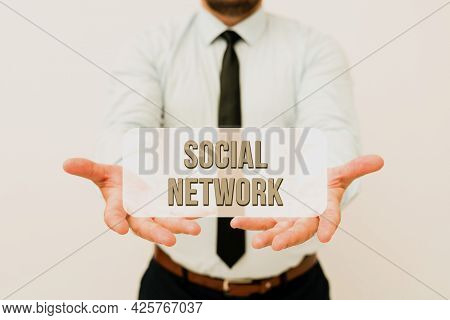 Text Sign Showing Social Network. Word For A Framework Of Individual Linked By Interan Individualal
