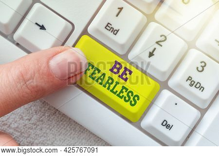 Text Caption Presenting Be Fearless. Word For Act Of Striving To Lead An Extraordinary Life And Make