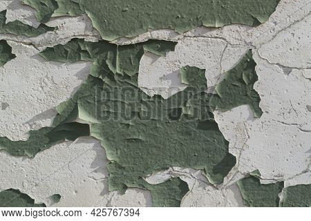 An Old Shabby Wall. Paint Cracked. Quality Photo