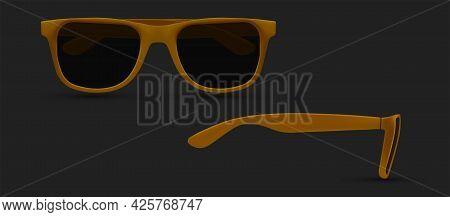 Sunglasses Vector, Sunglasses Silhouette. Polarized Geek Glasses, Hipster Sun Lens Ocular. Realistic