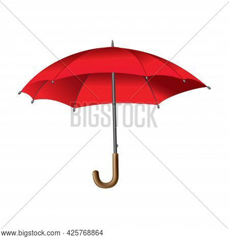 Red Umbrella. Isolated On White Background. Parasol Opened. Hand-held Rain Or Windbreak Protection