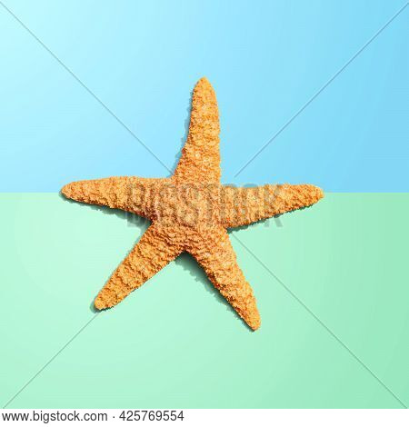 Summer Concept With Starfish Overhead View - Flatlay