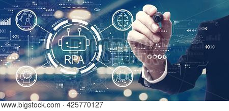 Robotic Process Automation Rpa Theme With A Man On Blurred City Background