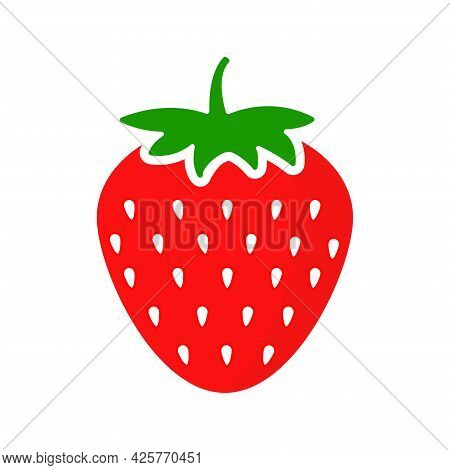 Natural Strawberry Icon In Carton Style. Garden Strawberries Fruit Isolated On White Background. Fre