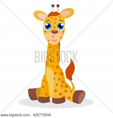 Cute Giraffe Sitting, Vector Illustration For Children's Design, Postcards, Posters, T-shirts And Ot