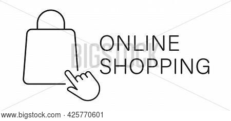 Online Shopping Icon With Click And Bag. Buy In Online Store Concept. Vector Illustration.