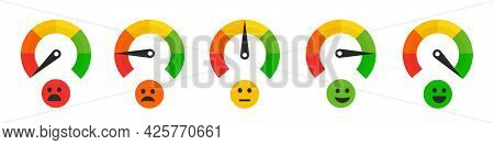 Speedometer Rating Satisfaction With Emotions. Colour Tachometer Indicator Scale Performance Measure