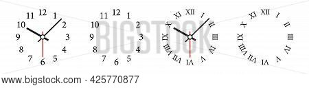 Clock Face Vector Illustration. Mechanical Clocks Template Set. Watches With Arabic And Roman Numera