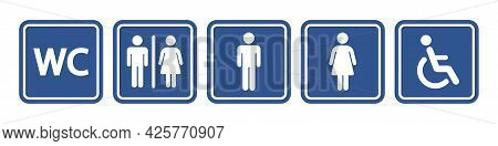 Toilet Vector Icon Collection. Restroom Wc Sign Isolated. Men And Women Vector Symbols On White Back