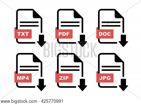 File Type Icon Set. Format Of Documents. File Extensions. Simple File Type And Document In Flat Styl