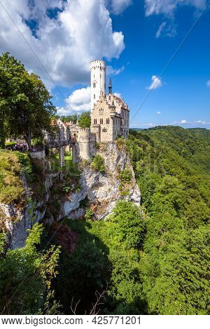 Lichtenstein Castle In Summer, Germany. This Magnificent Castle Is Landmark Of Baden-wurttemberg. Sc