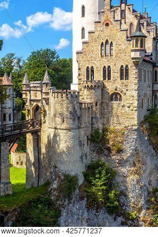 Lichtenstein Castle Close-up, Germany. It Is Landmark Of Baden-wurttemberg. Vertical View Of Magic G
