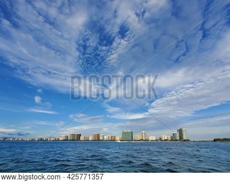 Residential Buildings Of Bal Harbor Beach, Florida Just South Of Bakers Haulover Inlet Under Summer