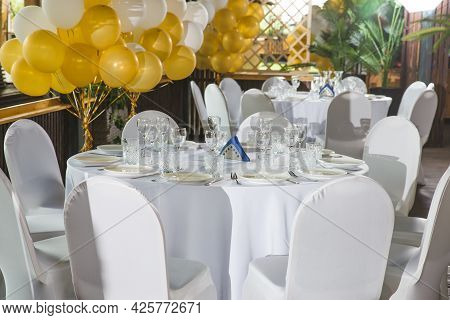 Picture Of Empty Expensive Restaurant. Banquet Hall, Serving