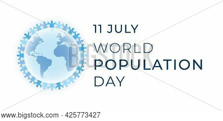 World Population Day Banner Design Template. Annual Celebration On 11 July. Abstract Multinational P