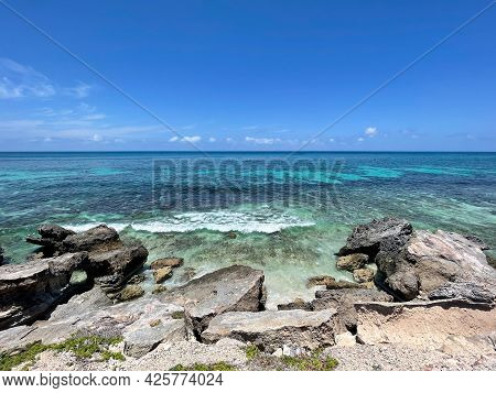 View Of The Clear Blue Waters Around Punta Sur In Isla Mujeres, Mexico .