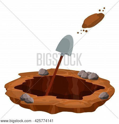 Digging A Hole. Shovel And Dry Brown Earth. Grave And Excavation. Pile Dirt And Stones. Cartoon Flat