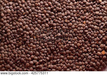 Background Of Red Lentils. Scattered Red Lentils.