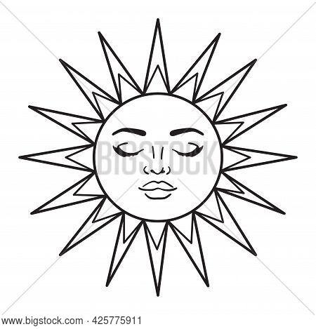Bohemian Illustration, Celestial Vintage Design, Sun With Face, Stylized Drawing, Tarot Card. Mystic