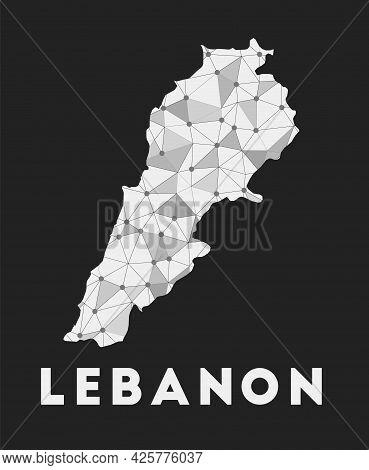 Lebanon - Communication Network Map Of Country. Lebanon Trendy Geometric Design On Dark Background.