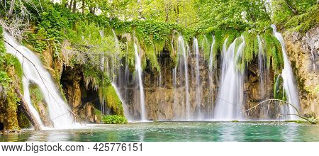 Waterfall In Plitvice Lakes National Park At Summer, Croatia