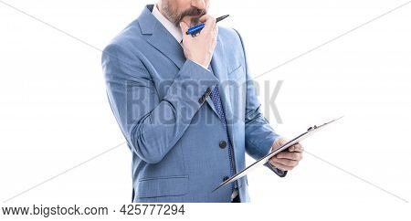 Business Expertise. Successful Man Making Notes. Entrepreneur Read Project.