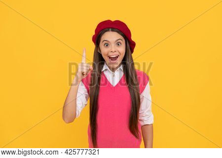 Inspiration. Tween And Youth. Yes. Casual Fashion. Happy French Teen Girl On Yellow Background