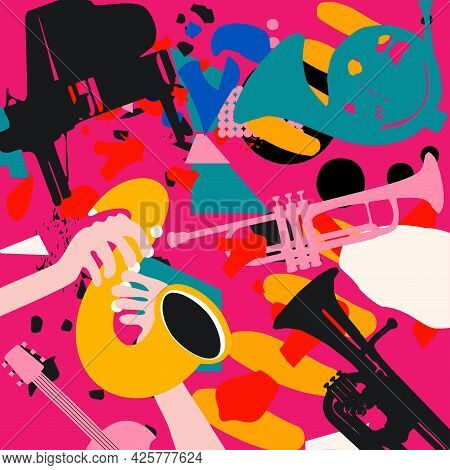 Music Promotional Poster With Musical Instruments Colorful Vector Illustration. Piano, Sax, Trumpet,