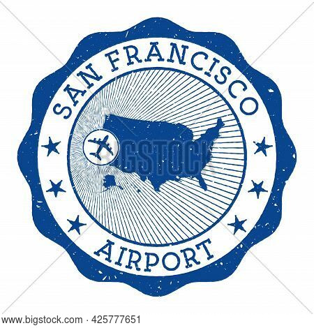 San Francisco Airport Stamp. Airport Of San Francisco Round Logo With Location On United States Map