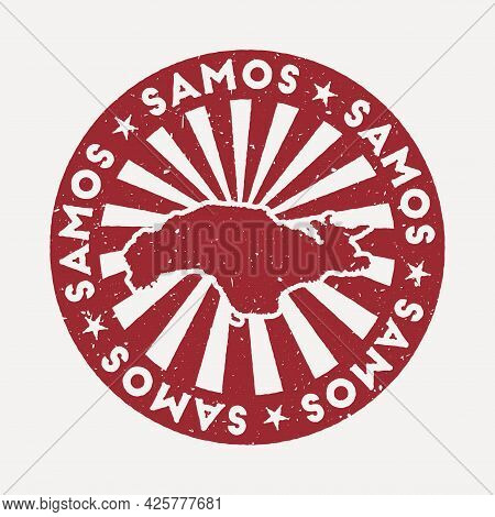 Samos Stamp. Travel Red Rubber Stamp With The Map Of Island, Vector Illustration. Can Be Used As Ins