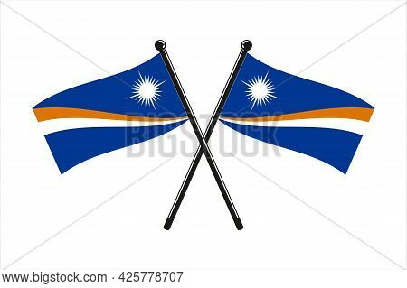 National Flags Of  Marshall Islands, In The Original Colours Crossed  On The Sticks