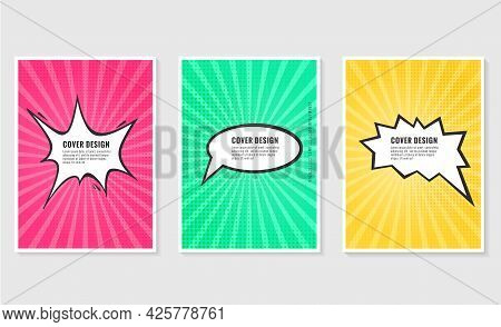 Pow, Colorful Speech Bubble And Explosions In Pop Art Style. Elements Of Design Comic Books.vector I