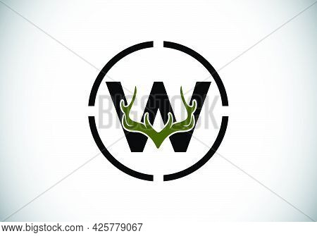 Letter W With Deer Antlers In Target Shape, Flat Style Logo Design Vector Template, Hunting Inspirat