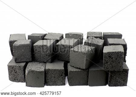Hookah Charcoal, Isolate On A White Background. Coconut Charcoal For Hookah, Isolate